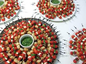 tomato and mozzarella skewers