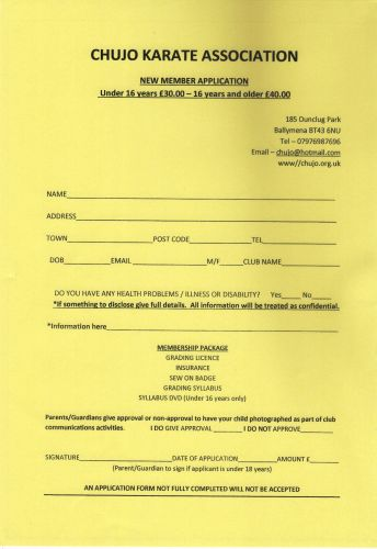 CKA New Membership Application -Yellow