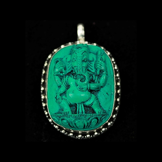 Ganesh Blue Green  turquoise  pendant