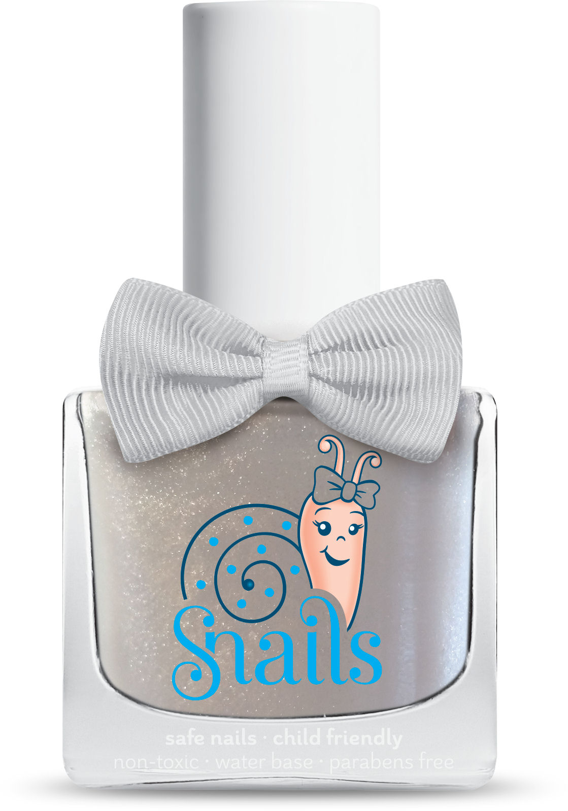 <!-- 006 -->FROST QUEEN - White with Sparkle  Snails  Nails Washable Polish