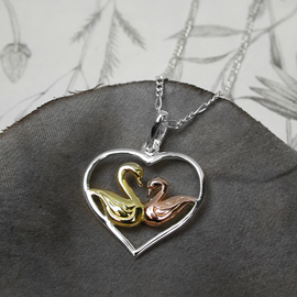 Silver Heart pendant with Kissing Swans