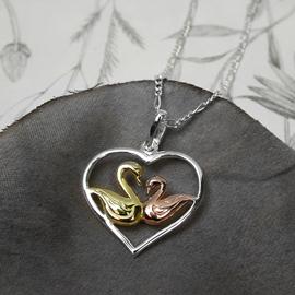 Silver Heart pendant Swans