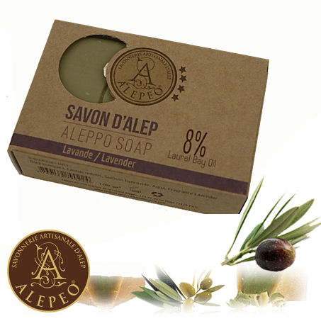 <!--030-->Aleppo Lavender Soap 8% Bay Laurel 100g - Najel (020)