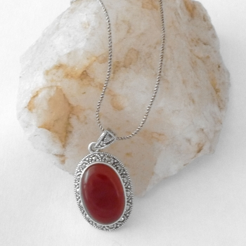 Carnelian Necklace with silver chain