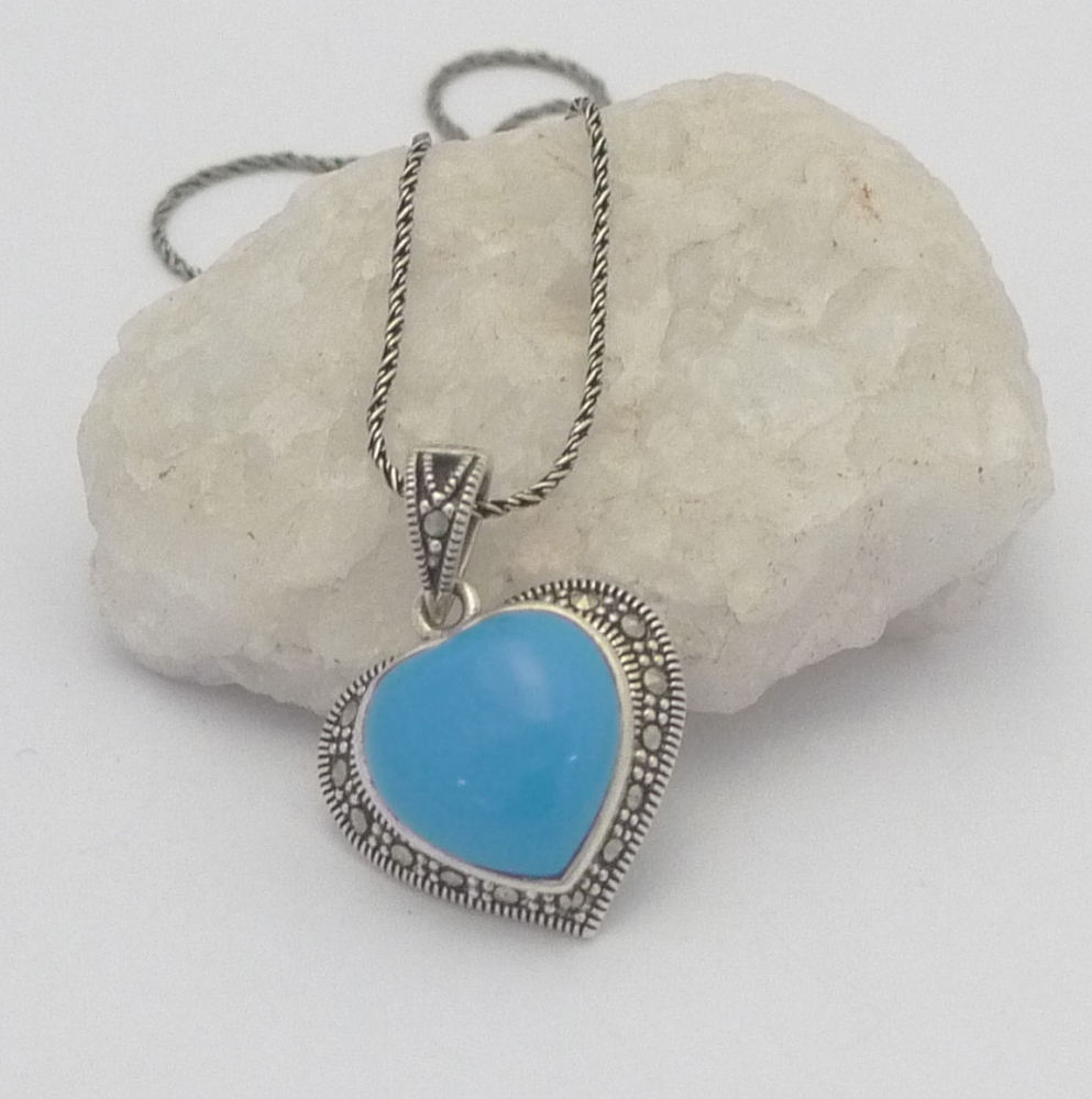 Turquoise silver Heart Necklace - Persian
