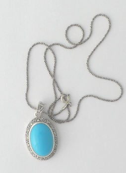 Silver necklace with Blue Turquoise Stone