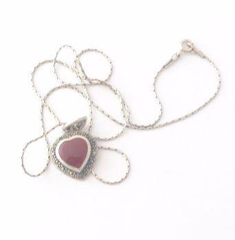 Carnelian Silver Necklace Heart