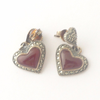 Carnelian silver Heart  earrings