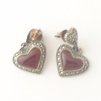 Carnelian silver Heart  earrings