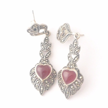 Carnelian silver  earrings Hearts