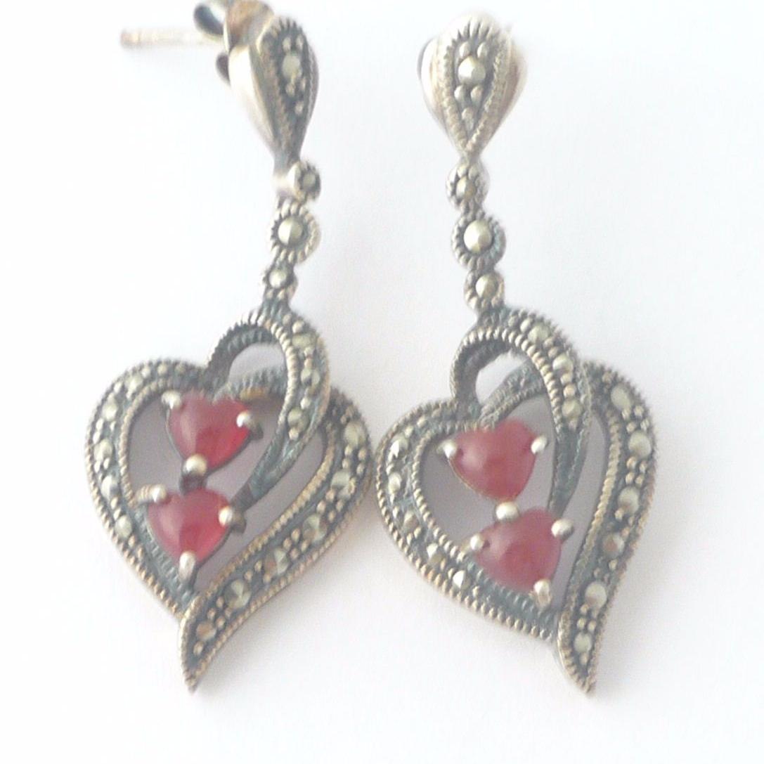 Carnelian silver  earrings Hearts