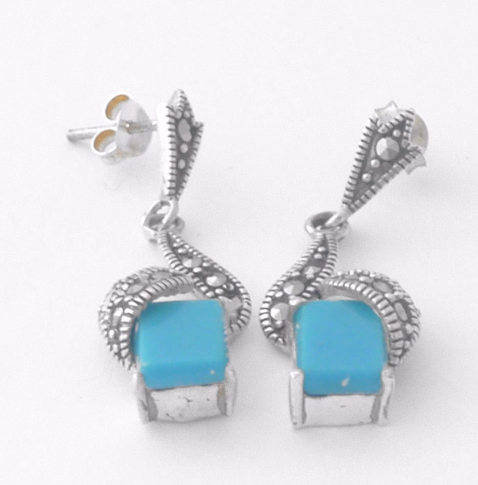 Turquoise Silver Earrings - Square