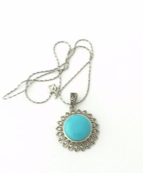 Turquoise silver necklace - Iranian