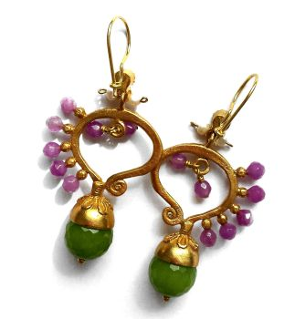 Safari Earrings Purple and Green Agate