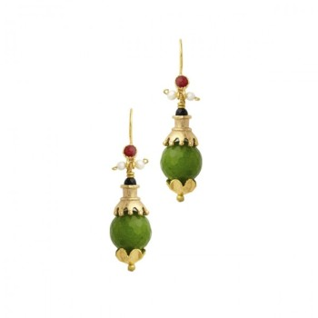 Earrings Green Quartz & 21ct gold plate - Ottoman Hands ' CAZIBE ' (OH/E206)