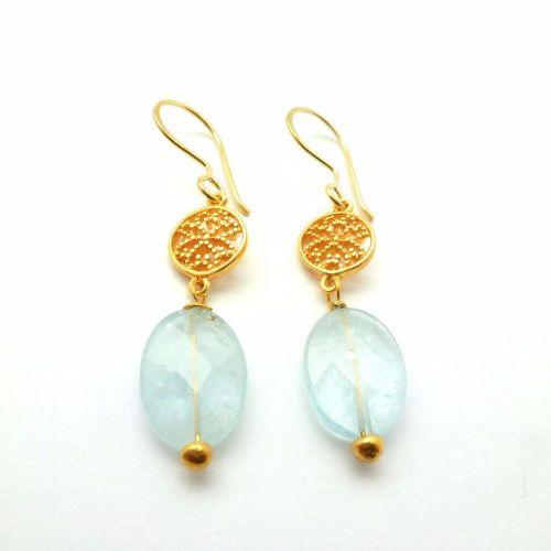 Aquamarine Valflower earrings Blue - Gold Plated - Mirabelle