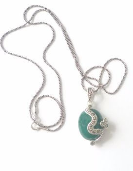 Green Agate silver Pendant Necklace