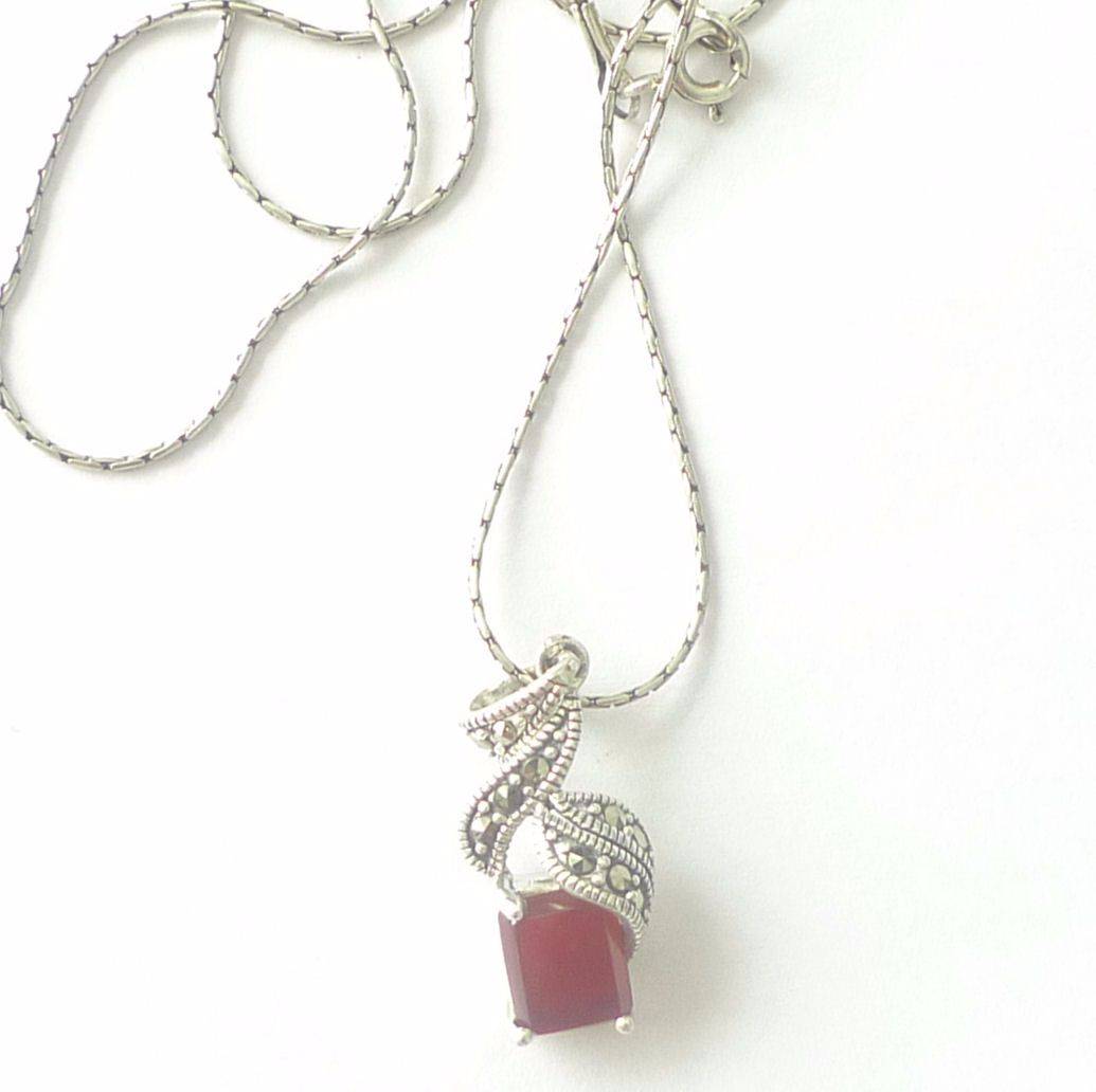 Carnelian silver Square Necklace