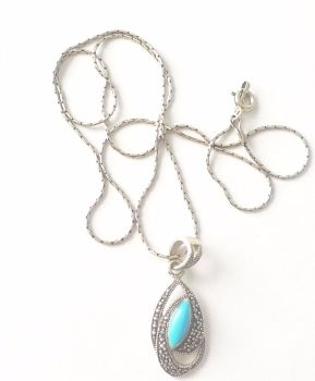 Turquoise Blue Stone silver necklace