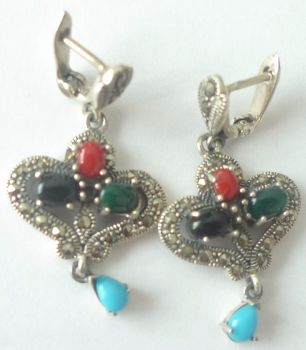 Silver  earrings Hearts - Multi stone Turquoise & Agate