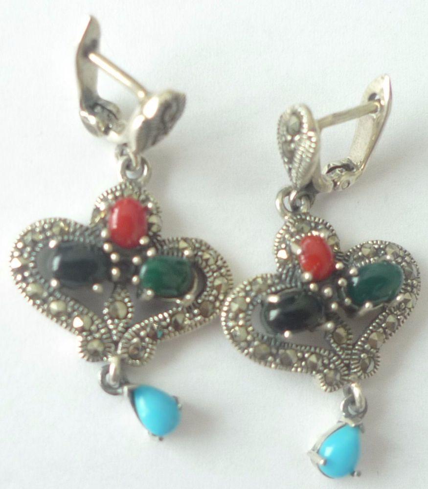 Silver  earrings Hearts - Multi stone Turquoise & Agate