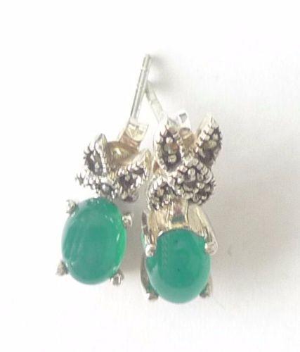 Green Agate silver  earrings