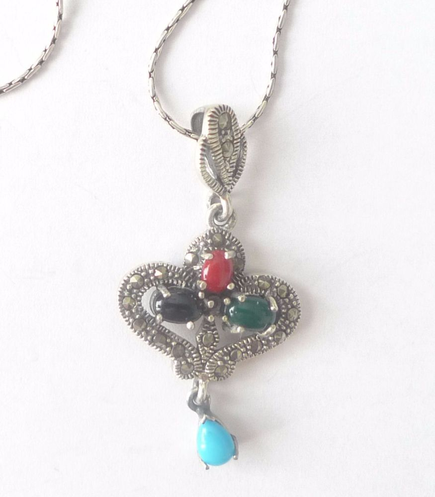 Silver  Necklace Hearts - Multi stone Turquoise & Agate
