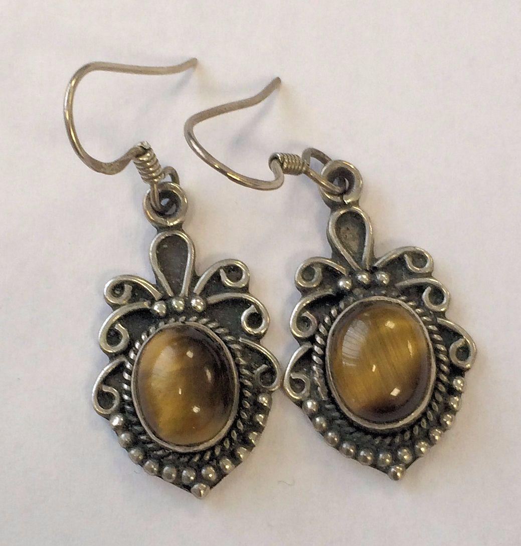 Tigers eye silver earrings