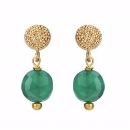 Stud earrings with Green Onyx- Mirabelle