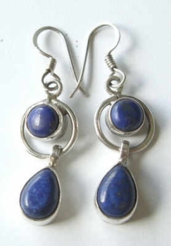 Lapis Lazuli Blue stone silver earrings