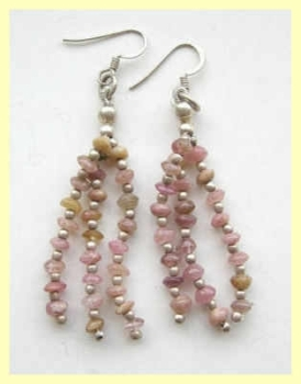 Rose quartz pink stone silver earrings