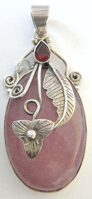 Rose Quartz Silver Pendant with Ruby