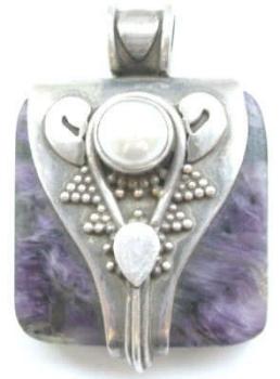 Sodalite mauve stone silver pendant with pearl