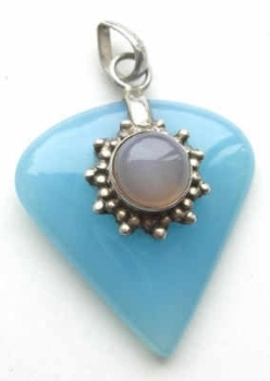 Blue Chalcedony stone with moonstone pendant