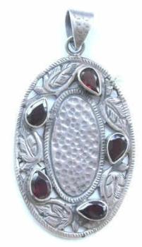 Garnet Silver pendant Chakra
