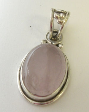 Moonstone Pink lustre Silver Pendant