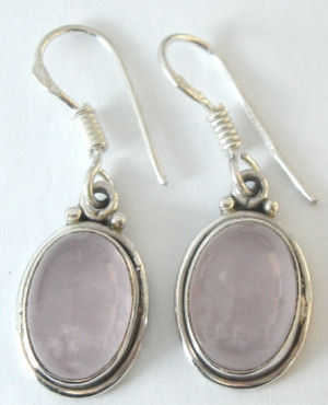 Moonstone pink colour silver earrings