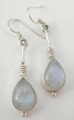 Moonstone milky white silver earrings