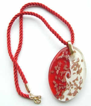 Red Gold Murano glass pendant with gold