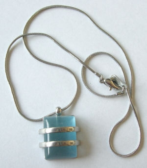 Blue Glass Silver necklace on Chain