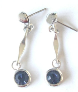 Blue glass silver stud  fashion earrings