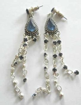Blue & Silver Glass Dangle Stud Earrings