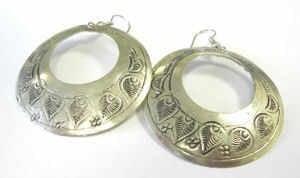 Silver Hoop earrings with indian pattern