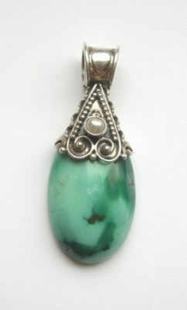 Blue Green turquoise silver pendant with Pearl