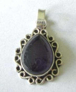 Amethyst silver pendant - mauve stone