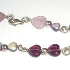 Heart  Silver Bracelet Lilac Glass Beads' Delmonico'
