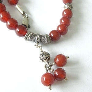 Carnelian Bead Necklace with silver 002