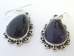 Amethyst Purple Silver Earrings Fancy design (AME02)