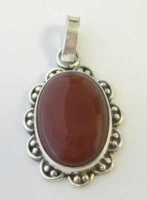 Carnelian Silver Pendant Fancy design (CAP02)