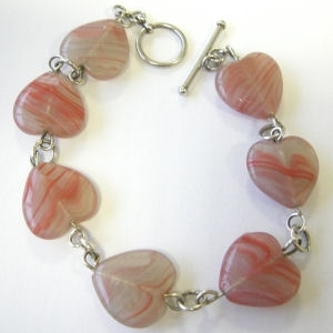 Silver Bracelet Red pink Beads